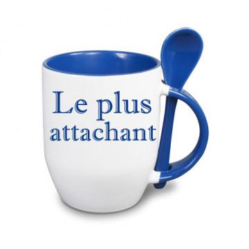 Tasse bleue avec cuillère...