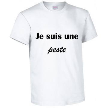 "Tee-shirt blanc humour ""Je..."